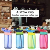 NEW Kids Children School Portable 480mL Drinking Water Bottle w/ Straw Sippy Cup