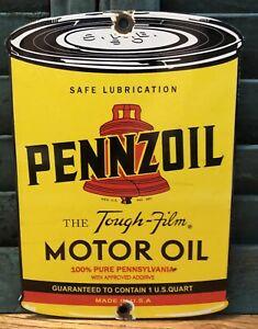 """VINTAGE PENNZOIL MOTOR OIL 8.25"""" CAN PORCELAIN GASOLINE GAS ADVERTISING SIGN"""
