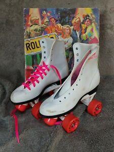 Vintage Roller Derby White Roller Skates Original Box Size 6