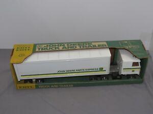 John Deere Parts Express STEEL Semi Truck & Trailer 1/25 Ertl Toy JD Rolled