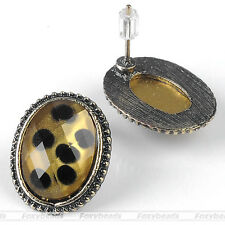 1Pair Vintage Faceted Resin Black Spot Leopard Ear Studs Earring Fashion gift