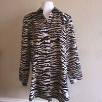Chicos Tan Black Tiger Animal Print No Iron Roll Tab Sleeve Button Up Shirt 2