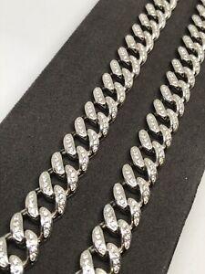 925 Genuine Sterling Silver HEAVY CZ  CUBAN LINK CHAIN, BRACELET  GIFT