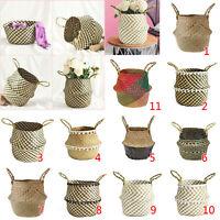 Seagrass Folding Basket Flower Plants Pots Laundry Storage Home Garden Organizer