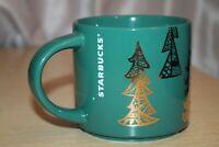 STARBUCKS Coffee 14 Oz Mug Green Christmas Pine Tree Cup Green Gold Holiday EUC