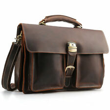 """Men Real Leather 15"""" Laptop Briefcase Shoulder Bag Handbag Attache Bag Satchel"""