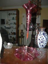 ANTIQUE VICTORIAN CRANBERRY ART GLASS EPERGNE CENTERPIECE
