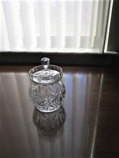 COVERED JAR WITH LID, CUT GLASS, SPOON