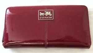 Coach Burgundy Patent Leather Zip Around Wallet