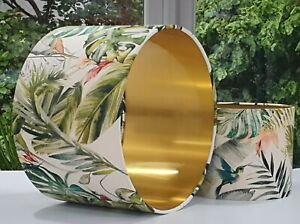 TROPICAL botanical jungle gold leaf humming bird floral green drum lampshade
