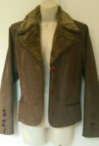 Yessica Ladies Genuine Leather Jacket size UK 14 Brown Pig Split Leather