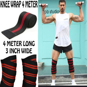 GLADIATOR HEAVY DUTY KNEE WRAPS POWER LIFTING/BODYBUILDING WEIGHT STRAP BLACKRED