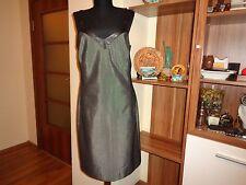MARC CAIN ANTRACIT MELANGE PINCHECK WOOL BLEND STRAPPY PENCIL SLIM DRESS-S,10-UK