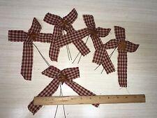 "DLCC~5 PCS PRIMITIVE RUSTIC 5-6"" burgundy homespun bows with rust barn stars"