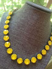 Swarovski Crystal Elements Yellow Opal Necklace 12mm In Antique Silver Jewelry