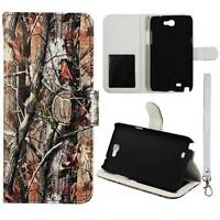 Flip Wallet Brown Camo For Samsung Galaxy Note 2 II N7100 Pu Leather Cover