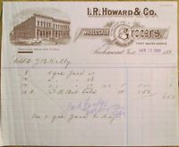 Richmond, IN 1898 Pink Letterheaed: I. R. Howard & Co., Grocery - Indiana