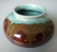 Stunning Australian pottery vase signed L. McKenzie ; lovely drip glazes ; G.C.
