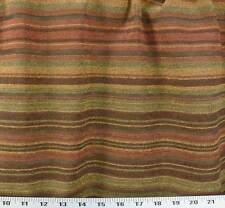 Drapery Upholstery Fabric Designer Quality Chenille Stripe - Brick, Gold, Jade,.