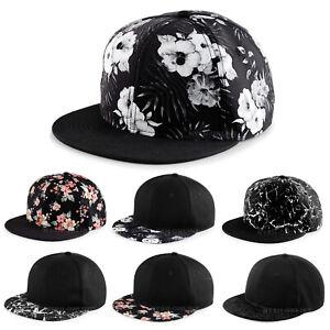 NEW FLORAL SNAPBACK CAP BLACK PLAIN FLOWER BASEBALL HIP HOP ERA FLAT PEAK HAT