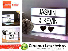 Trend-Time Cinema Lightbox Dekobox LED KinoLicht Tafel 85 Buchst. & Symb. #94999