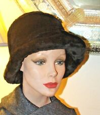 Vintage Plush Black Silky Lined Soft Bucket Hat