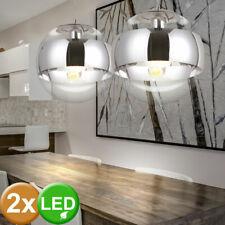 Lot de 2 LED boule de verre suspendus lumières salle à manger plafonniers chrome