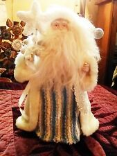 Nwot Pretty Old Fashion Style Fabric Robed Santa Tree Table Topper Med Size