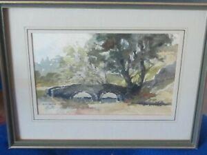 Original watercolour by N.S.Oxley of a Derbyshire Stone Bridge