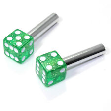 2 Green Glitter Dice Interior Door Lock Knobs Pins for Car-Truck-HotRod-Classic