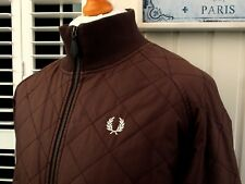 "Fred Perry Brown Diamond Quilted Bomber Jacket - M/L - 46"" - Ska Mod Scooter"