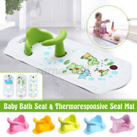 Baby Infant Bath Seat Tub Ring Seat Bath Chair Anti-skid +Thermoresponsive Mat