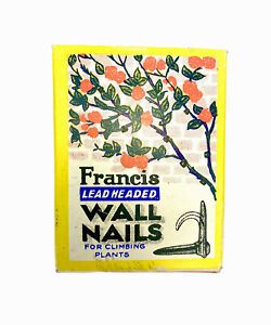 Vintage Francis Lead-Headed Wall Nails in Box For Climbing Plants Or Wires