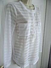 Ann Taylor S White Blouse Shirt Partial Button Down Long Sleeves Scoop Neckline
