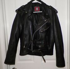 MEN'S VINTAGE RED BALLS ON FIRE BLACK LEATHER MOTORCYCLE JACKET SZ M STUDS ACE