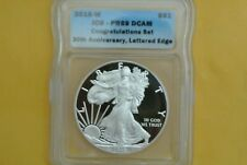 2016 W PROOF SILVER EAGLE ICG PR69 CONGRATULATIONS SET 30TH ANN LETTERED EDGE