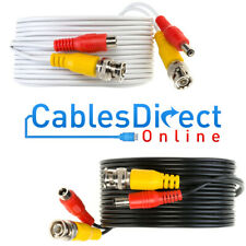 Premade RG59 CCTV Cable Security Camera BNC DC Power Video Wire White Black Lot