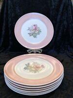 American Limoges Cotillian Rose Design, Wide Pastel Pink Border Dinner Plates.
