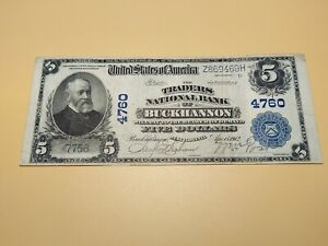 1912 Buckhannon, West Virginia National Currency $5 Note (Charter No. 4760)