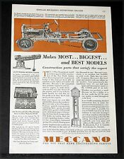 1928 OLD MAGAZINE PRINT AD, MECCANO BUILDING SETS, PARTS THAT SATISFY EXPERTS!