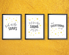 Nursery bedroom prints set of 3 - Coldplay lyrics quotes - grey and yellow decor