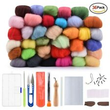 36-colors Wool Fibre Roving for DIY Needle Felting Craft Hand Spinning 3g Sets