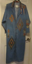 WOMEN'S BLUE PAINTED WESTERN DENIM DUSTER - SIZE S, 100% COTTON