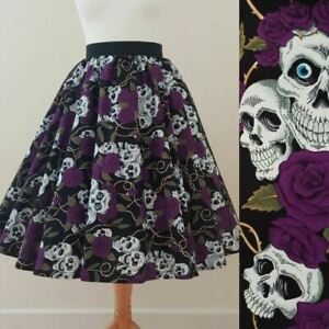1950s Circle Skirt Classic Skulls And Roses Sizes 8-20 Rockabilly Gothic Purple