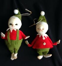 Vintage Christmas Pixie Elf Ornaments Flocked Painted Face Doll Japan Decoration