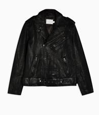 Topman Premium 100% Leather Biker Jacket, Black, L, (64L03TBLK) BNWT, RRP £180