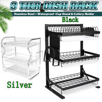 3 Tier Dish Drying Rack Drainer Tabletop Plate Bowl Storage Shelf w/ Drain Tray