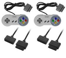 2x SNES Super Nintendo Controller Joypad Gamepad + 2x Padverlängerung SNES Neu