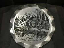 "Vintage 14 3/4"" Aluminum White Tailed Deer Tray"