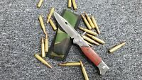 AK47 Knife CCCP Russian Folding Pocket  Stainless/wood Assisted open Camo Pouch
